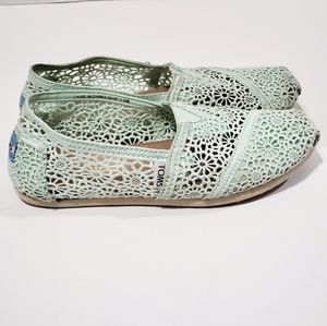 Toms Floral Mint Crochet Lace Slip On Shoes